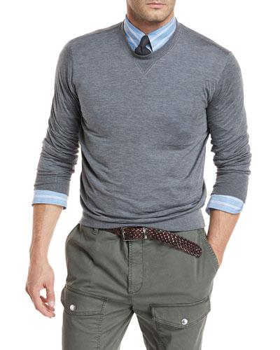 Heathered Silk/Cotton Jersey Sweatshirt