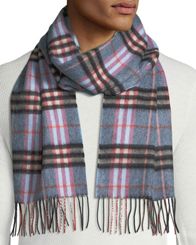 Men's Cashmere Giant Icon Check Scarf, Blue