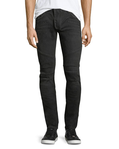 Solid Denim Skinny Biker Jeans