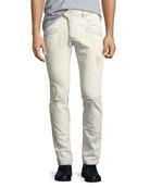Distressed Skinny Stretch-Denim Moto Jeans