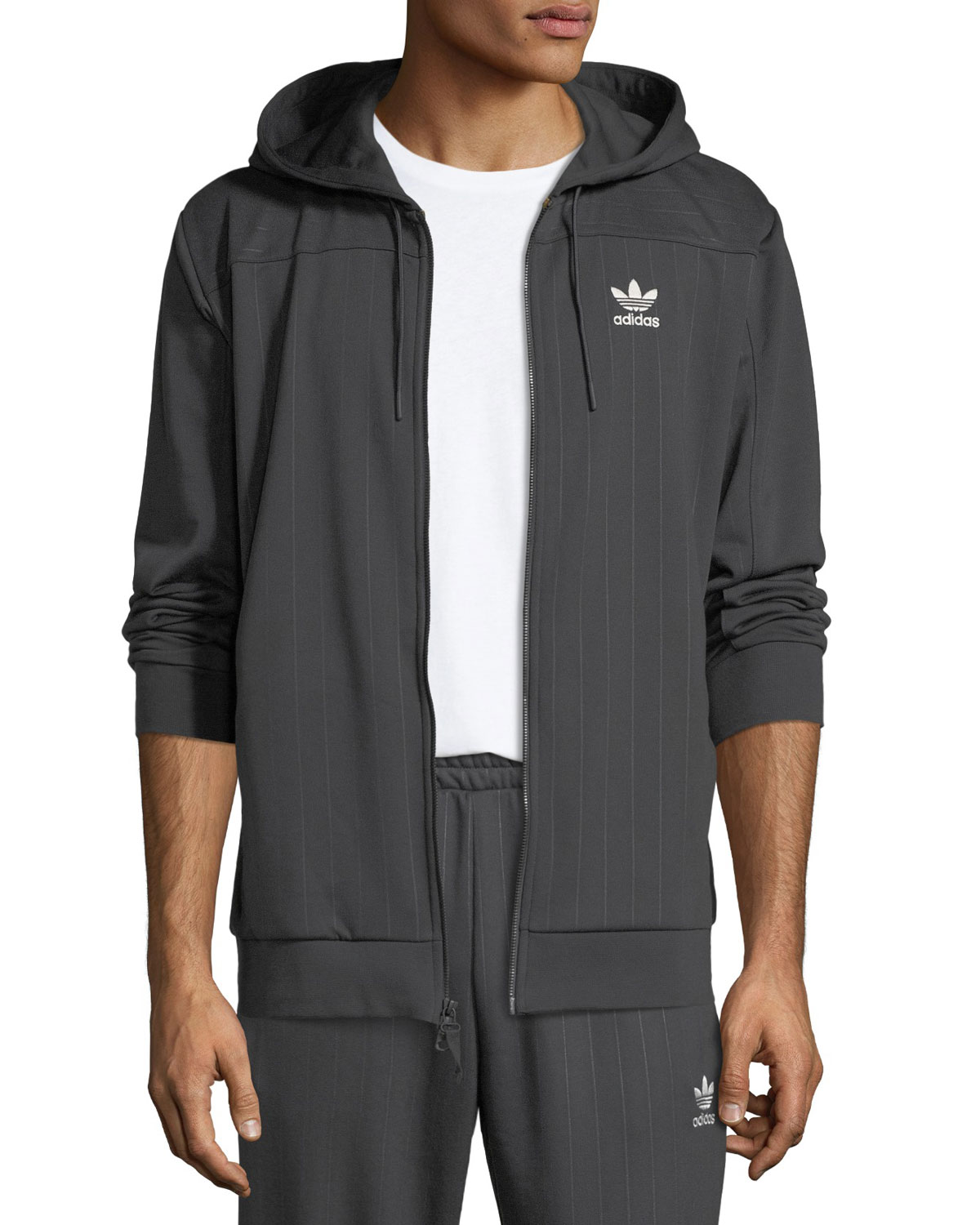 Men's Pinstriped Zip-Front Hoodie Sweatshirt