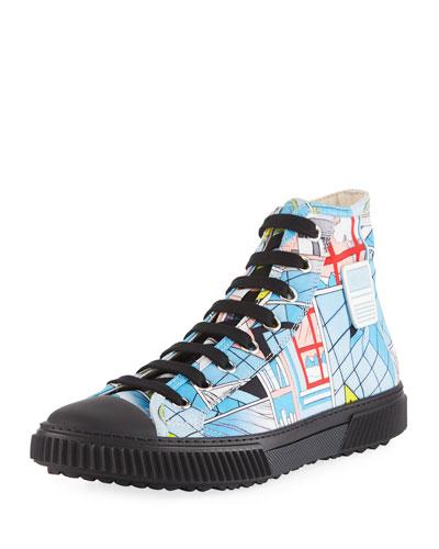 Comic-Print Canvas High-Top Sneaker
