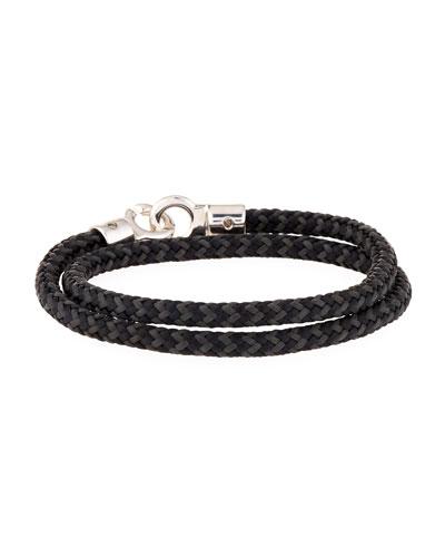 Men's Double Tour Rope Wrap Bracelet, Black