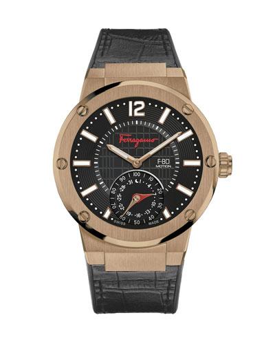 44mm F-80 Motion Leather Smartwatch, Black