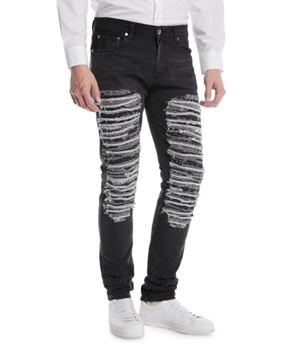 Destroyed Straight-Leg Jeans