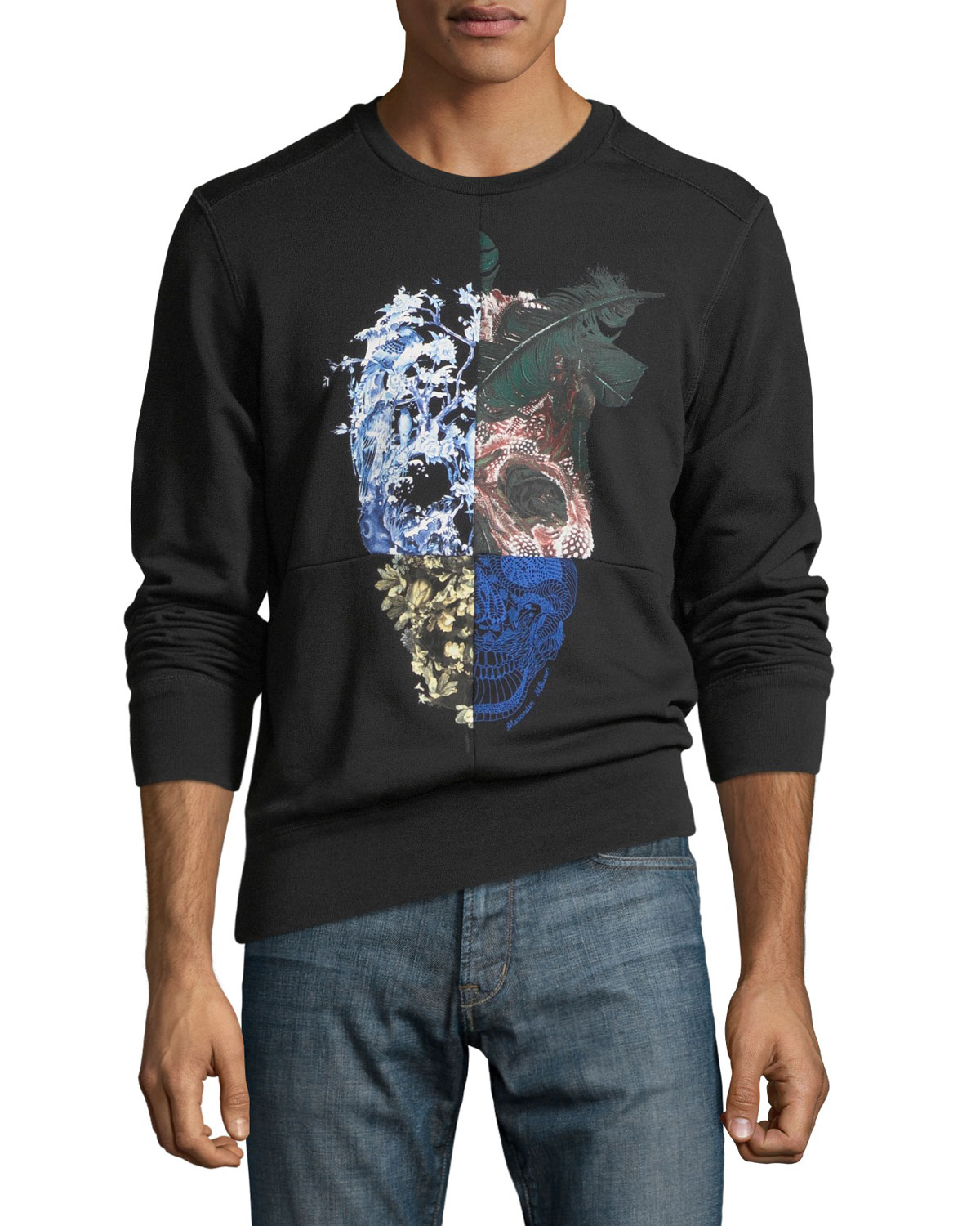 Paneled Skull Graphic Sweatshirt