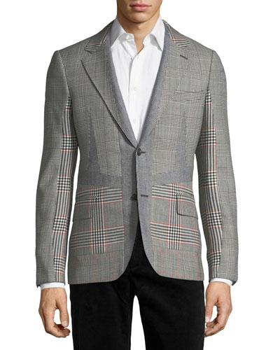 Wool Check-Panel Two-Button Blazer