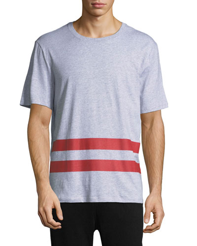 Striped-Trim Cotton T-Shirt