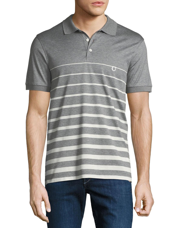 Men's Horizon Striped Cotton Polo Shirt with Gancio Embroidery
