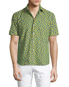 Lemon-Print Cotton Button-Down Shirt