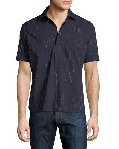 Metallic-Striped Denim Shirt