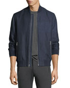 Striped Linen-Cotton Bomber Jacket