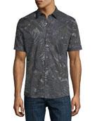 Palm-Print Slim Short-Sleeve Sport Shirt