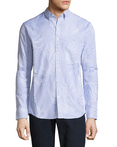 Palm Jacquard Slim-Fit Sport Shirt