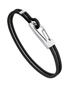 Woven Leather Bracelet with Carabiner Closure