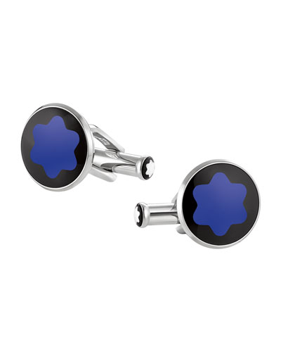 Mineral Glass-Inlay Round Cuff Links, Blue