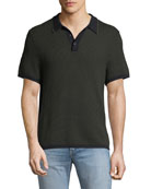 Men's Finn Textured Graphic-Stitch Polo Shirt