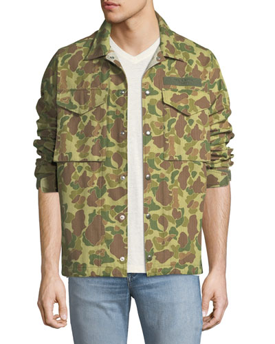 Camouflage-Print Flight Shirt Jacket