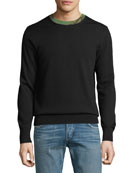 Camouflage-Trim Wool Sweater