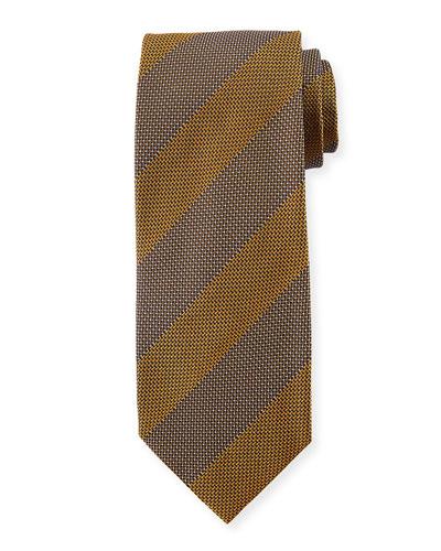 Wide Textured Stripe Silk Tie