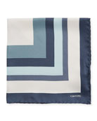 Opposite Box Silk Pocket Square, Dark Blue