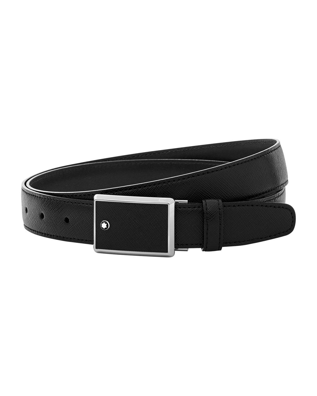 Men's Rectangle-Buckle Leather Belt
