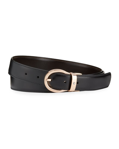 Oval-Buckle Reversible Leather Belt
