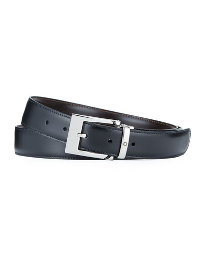 Men's Rectangular-Buckle Reversible Leather Belt