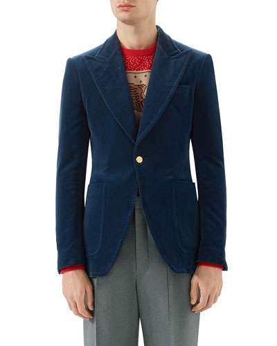Velvet Formal One-Button Jacket