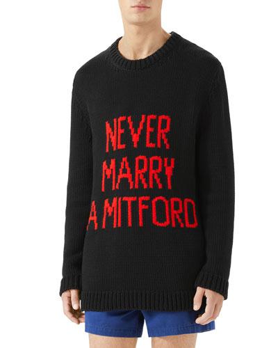 Typographic Intarsia-Knit Sweater