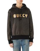 Foil-Print Guccy Block Logo Hoodie