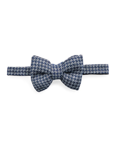 Classic Houndstooth Bow Tie, Medium Blue