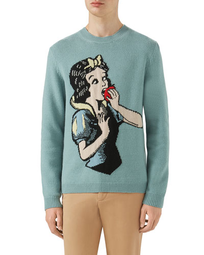 Snow White Intarsia-Knit Wool Sweater