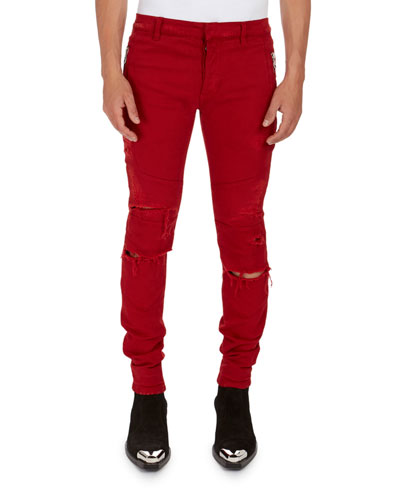 Distressed Skinny Solid Jeans