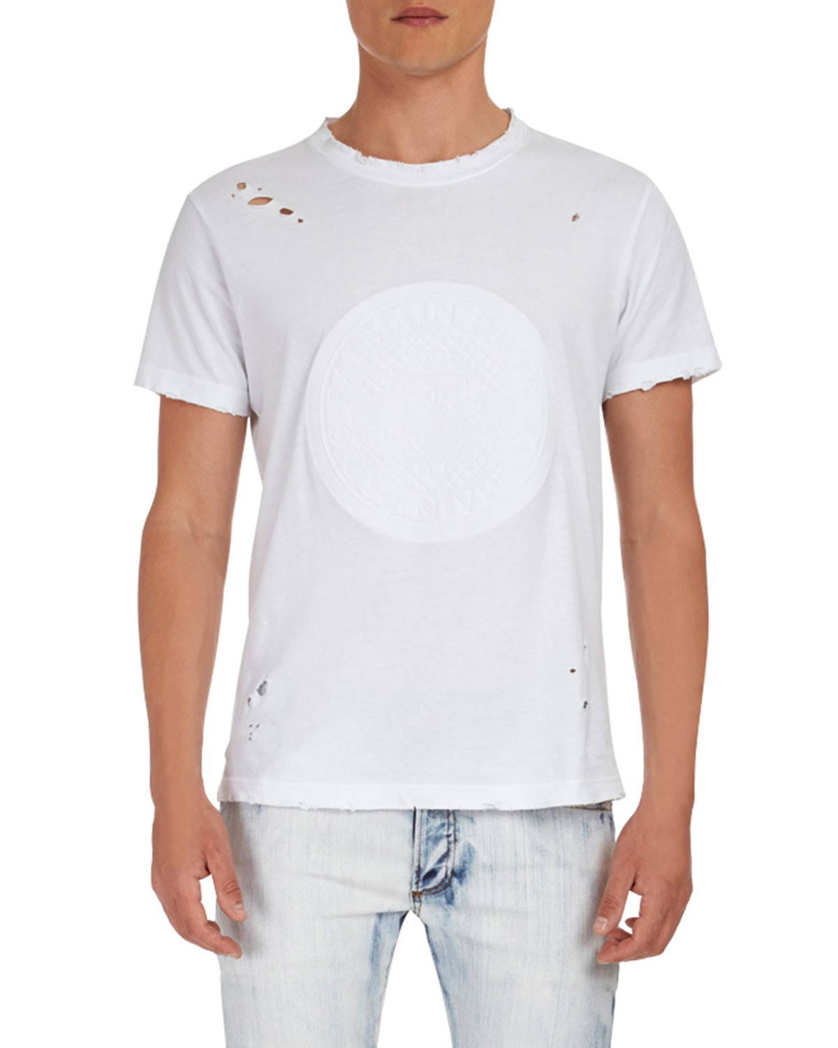 Manches Courtes Monnaie Embossed T-Shirt
