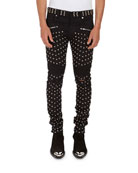 Allover-Studded Stretch-Cotton Skinny Jeans