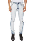 Bleached 6-Pocket Slim Jeans