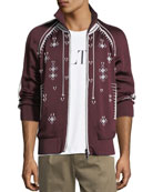 Beaded Zip-Front Track Jacket