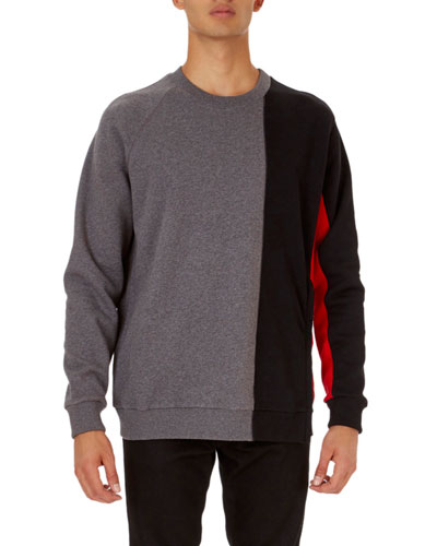 Cuban-Fit Panel Pullover Sweatshirt with Zip at Hem