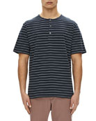 Relaxed Striped Short-Sleeve Henley Shirt