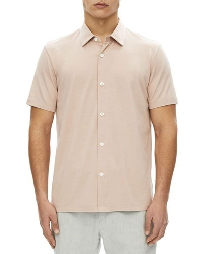 Knit Incisive Silk-Blend Short-Sleeve Sport Shirt
