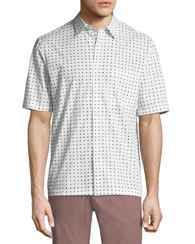 Bruner Dotted Short-Sleeve Sport Shirt