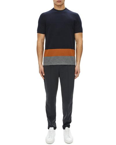 Cyar Striped-Trim Short-Sleeve Sweater