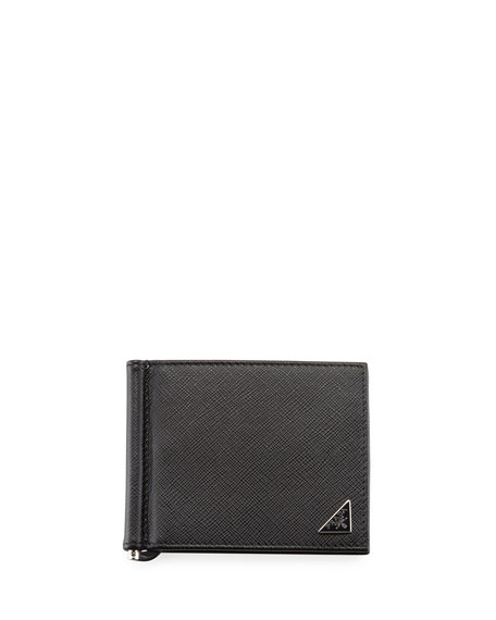 Prada Saffiano Triangolo Wallet with Money Clip
