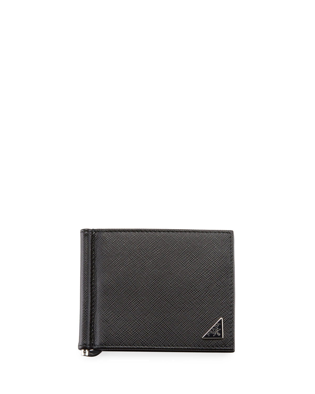 Saffiano Triangolo Wallet with Money Clip