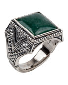 Men's Sterling Silver & Aventurine Signet Ring
