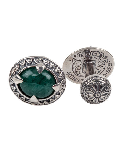 Sterling Silver & Aventurine Cuff Links