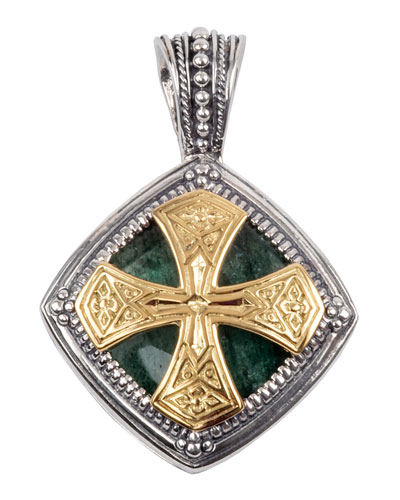 Men's Sterling Silver & 18K Gold Pendant with Aventurine