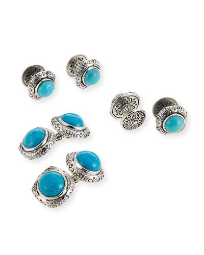 Turquoise Cabochon Sterling Silver Cuff Links & Stud Set
