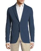 Men's Jersey Piqué Three-Button Sweater Jacket